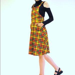 Vintage 60s rainbow plaid overall dress pinafore